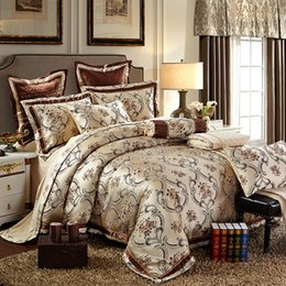 Wholesale Luxury Silk Bedspreads King Size - Wholesale-Cotton Stain Jacquard Luxury Wedding Bedding set 4 6Pcs Kits King Queen size Duvet cover Thick Cotton Bedspread set Pillow shams