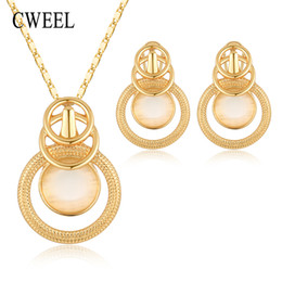 Ювелирные наборы для подружек невесты онлайн-CWEEL Fashion Opal Jewelry Sets For Women Party Wedding African  Jewelry Set Round Costume  Bridesmaids Jewerly
