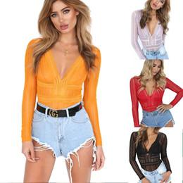 Wholesale Chest Coolers - Cool Summer Women Sexy Lace Piece Suit Soild Color Tops Long Sleeve V-Neck Low Chest Blouse RF0746