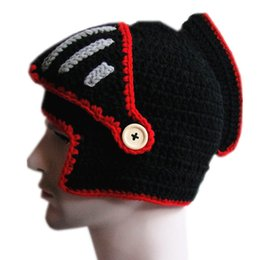 Wholesale cable mask - BomHCS Men's Warm Cable Handmade Knitted Beanie Warrior Helmet Hat Cap with Mask
