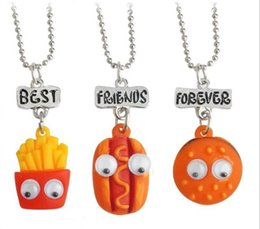 Wholesale Forever 12 - Best Friend Forever BFF pendant bead chain charm necklace fast food cute lovely chips hot dog hamburger kids jewelry movable eye 12 set lot