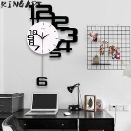 Reloj de pared decorativo grande online-Reloj de pared grande Reloj de pared colgante digital Gran diseño decorativo moderno Relojes Decoración Reloj digital para el dormitorio