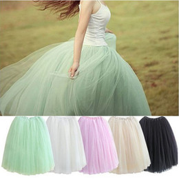 Wholesale Yellow Voile Lace - Wholesale- Women Lace Adult Tutu Skirt 5 layers Voile Tulle Skirt Bouffant Long Princess Puffy Skirt Autumn Ball Gown Pleated Midi Skirts