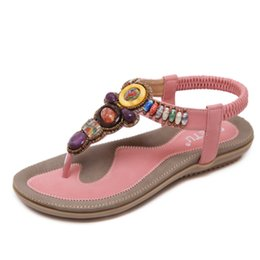 Wholesale Printing Large - Beach Flat Women Girls Bohemian Sandals Shoes Espadrilles Black Beaded Ankle Strap Large Size Free Shipping