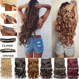 Wholesale Blonde Hair Clip Piece - Charming 6 Colors 5 Clip In Hair Extensions 16 Inch Long Curly Wave Hair Piece Synthetic Hair Black Brown Blonde