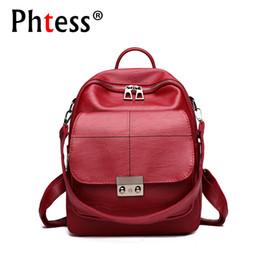9fe1fc782038 2018 Women Leather Backpacks For Girls Preppy Style Sac a Dos Vintage  Bagpack Female Back Pack Shcool Rucksacks For Girls New