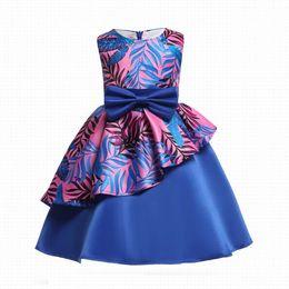 Wholesale bow left - INS Girl Princess Bow Dress Print Leaves Asymmetrical Style Summer Petal Sleeveless Tutu Dress Kids Elegant Dress NEW Arrival