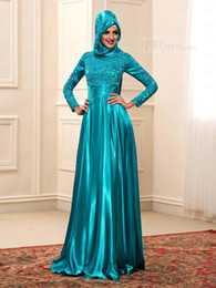 Wholesale Teal Long Sleeve Satin Dress - Elegant High Neck Long Sleeves Teal Muslim Evening Dresses With Hijab Arab 2018 Applique Lace Satin Kaftan Women Formal Gown