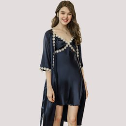 bath robes set Coupons - New Elegant Women's robe sets Mini nightwear indoor Sleepwear Silk Feel bath robe and night gown set Vestidos WP691