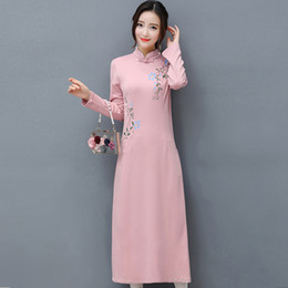 Wholesale elegant qipao - 2017 Autumn Loose Chinese Dress women fashion AoDai Qipao Slim Long sleeve dresses Vestidos Ethnic elegant Tea Clothing WJ667