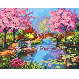 Wholesale Diy Oil Paint Numbers - Picture Paint On Canvas Diy Digital Oil Painting Painting Picture By Numbers Garden Forest Scenery Home Decoration Craft Gifts
