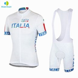 Wholesale italia cycle jersey - 2018 Men Ropa Ciclismo Italia White Team Cycling Jersey Set Quick-Dry Sports Jersey Cycling Clothing Uniformes De ciclismo Sets