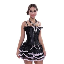 Abito da corsetto nero da donna Corsetti in rilievo con cinturini disossati con lacci e gonna tutu Plus Size Bustier Spedizione gratuita da