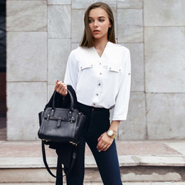 Toplook White Elegant Button Shirt 2017 Autumn and Winter Nine Quarter Stand  Collar Womens Tops and Blouses For Office Ladies 5dccbd1fe