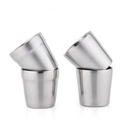Tazas de acero inoxidable para niños. online-Vasos de agua de acero inoxidable Vaso de café de dos pisos Taza de aislamiento térmico para niños para beber bebidas no tóxicas Acerca de 175 ml 6 66bb CZ