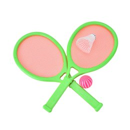 Raqueta de plástico online-Unisex Plastic Sports Student Gift Niños Puzzle Tennis Racket Badminton Discreteness