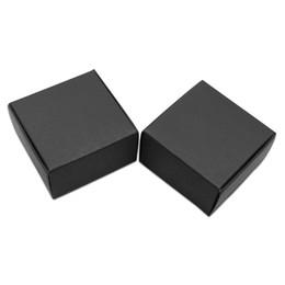 Canada 50 Pcs / lot 9.5 * 9.5 * 3cm Carré Noir Blanc Marron Papier Kraft Savon Artisanal Paquet Emballage Boîte Carton Papier Bonbons Snack Pack Boîte Offre