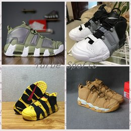 Wholesale Ba Gold - 2018 Airs More Uptempo SUPTEMPO Ba(p)e Basketball Shoes Wheat OLYMPIC RELEASE Bulls Gold Varsity Maroon Black Mens Shoes Size Eur 36-45