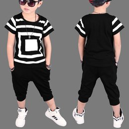 Wholesale Childrens Animal T Shirts - 2018 New Summer baby Childrens clothing sets Hip Hop Dance kids Sports Suit boys clothes set Fashion costume T-shirts+shorts