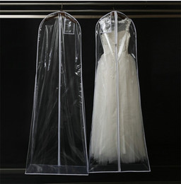 Wholesale Transparent Clothes Dress - Transparent Wedding Dress Dustproof Cover Omniseal Extra Large Waterproof PVC Solid Wedding Garment Storage Bag wen5499