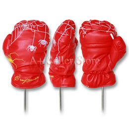 Wholesale Driver Gloves - Personality OEM Driver Headcover Golf 440cc 460cc Synthetic Leather Spider Red Boxing Glove Head covers