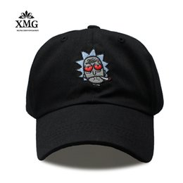 Wholesale Crazy Anime Wholesale - Rick and Morty New Khaki Dad cap Crazy Rick Baseball Caps American Anime Cotton Embroidery Snapback Anime lovers hat Men Women