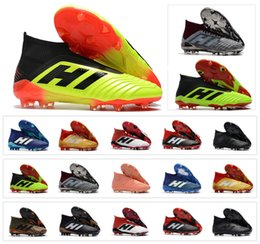 Wholesale cheap mens indoor soccer shoes - 2018 New Predator 18+ Predator 18.1 FG PP Paul Pogba soccer cleats Slip-On chaussures de football boots mens high top soccer shoes cheap