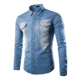 Wholesale Wash Denim Shirt - Brand Men Casual Denim Shirts Autumn Long Sleeve Washed Men Slim Fit Jeans Shirt Black Blue Plus Size 5XL KH823068