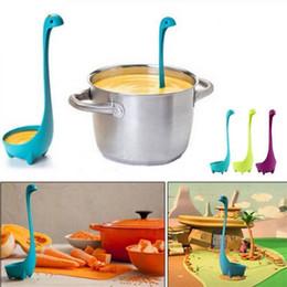 Wholesale plastic tea - Nessie Colander Loch Stand Soup Spoon cartoon Ladle Monster Ness Strainer Kitchen Tools Colander Silicone Tea Infuser FFA157 100PCS