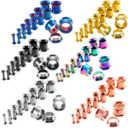 Wholesale Screw Tunnels - 6 Color Ear Stretching Kit Plugs Ear Plug Ring Expanders Tunnel Screw Fit Ear Plugs Gauged Jewelry 16pcs Set G84L