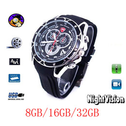 Wholesale 32gb Spy Watch Camera - 100% NEW 8GB 16GB 32GB Spy 1080P IR Voice Actived Wrist fashion Watch Camera Mini DVR hidden pinhole camera S5