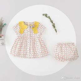 Wholesale Clover Dress - NEW girs Kids dress sets 100%Cotton four-leaf clover design summer girl's dress set causal girl t shirt+ pant kids clothing