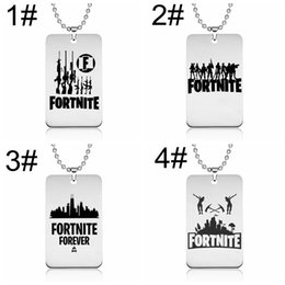 Wholesale necklaces customized - Fortnite Pendant Necklace Stainless Steel Logo Printing Customized Engraving Punk Style FPS Game Jewelry Gift 10 p