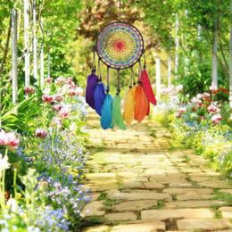 El yapımı Dreamcatcher Rüzgar Çanları 7 Gökkuşağı Renk Tüy Rüya Yakalayıcılar Hediyeler Düğün Ev Dekor Için Süsler nereden deniz çanı tedarikçiler