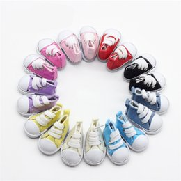 Wholesale shoes for dolls - Fashion 1 6 BJD Barbie Doll Accessories Mini Canvas Shoes 5cm Colorful Cake Decoration Doll Toy Gift For Kid 5bb WW