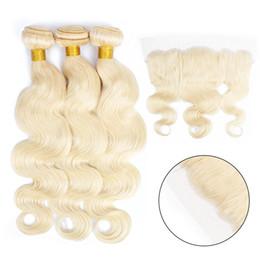 cheveux remy couleur blonde Promotion Kisshairfashion couleur 613 blonde platine 3 faisceaux avec 4 * 13 oreille à oreille dentelle frontale vague indienne corps droit hissage de cheveux