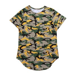 Wholesale Camouflage Shirt Long Sleeve - New Camouflage Curved Hem Long Line Hip Hop T-shirt Men Short Sleeve 2018 Summer Extended Tee Shirts Men's Tshirt