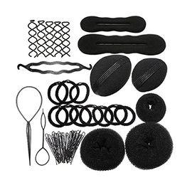 Wholesale manufacturer black hair - YOST-Hairknots Manufacturers Roller Pigtail Twist Rubber bands Pens Hair Design Tools Set Black