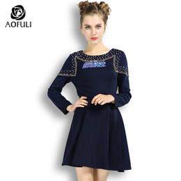 Wholesale Boutique Women S Dresses - AOFULI S- Xxxl 4xl 5xl Spring Long Sleeve Dresses With Beadings Diamond Women Plus Size Dress Fashion Boutique Clothing 3576