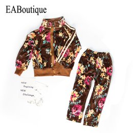 Wholesale Girls Velvet Tracksuits - EABoutique 2017 New Winter clothes for girls velvet fabric floral pattern long lseeve tracksuit for girls