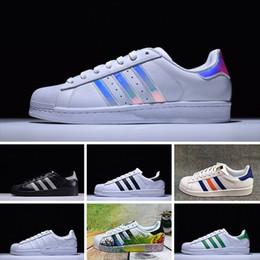 2eeef808b5c 2019 sapatos iridescentes 2016 Adidas Superstar 80s Running shoes NOVOS  Originais Sup Branco Holograma Iridescente Junior