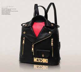Wholesale Leather Punk Jackets Men - 2018 NEW Backpack Men Women PU Leather Jacket Bags Clothing Shoulder Bag Day Clutch Purse Bags Motorcycle Punk