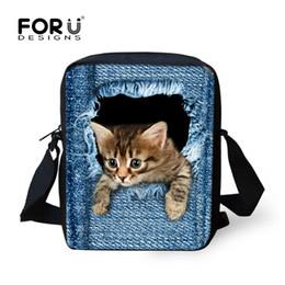 Wholesale cute denim bags - FORUDESIGNS Cute Pet Dog Cat Print Denim School Bags For Girls,Animal Schoolbag Student Kids Boys Bookbags Children Mini Mochila