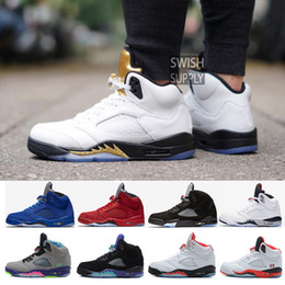 Wholesale Rubber Field - New 5 5s men Basketball Shoes Premium Heiress Camo Metallic Field Red blue Suede White Cement Triple Black 5s sports shoes Sneaker
