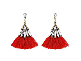 Wholesale 14k Solid Gold Charms - NEW Tassel Earrings Bohemian Fashion Crystal Tassels High Grade Earring Dainty Solid Color Jewelry For Girls Women White Black Earrings