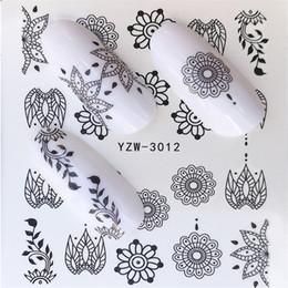 2019 viti nere FWC Nail Sticker Black Line Foglia di vite Pizzo trasferimento dell'acqua Slider Decal Design Nail Art Decoration Manicure viti nere economici