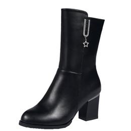 bottes de neige de diamant Promotion 2019 femmes bottes de neige en cuir PU bottes à talons hauts femmes chaussures d'hiver femme bottes mi-mollet pour les femmes mode fermeture à glissière diamant