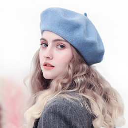 02cdcbd277c24 100% Wool Felt Beret Hat Classic Solid Color French Style Beret For Women  Lightweight Casual Fashion Girls Beanie Cap Hat Ladies