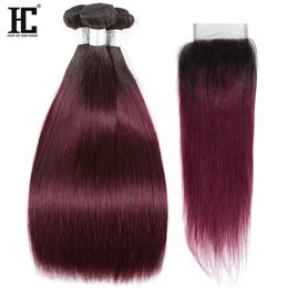 Wholesale hair color 99j - 1b 99j Ombre Human Hair Bundles with Closure Peruvian Straight Hair With Closure Ombre Blonde Human Hair 3 Bundles With Closure 100% Human
