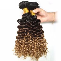 Malezya Ombre Koyu Kahverengi Sarışın Derin Dalga İnsan Saç 3/4 Demetleri Renkli 1B / 4/27 # Kıvırcık Virgin İnsan Saç Dokuma Uzantıları supplier virgin hair blonde deep wave nereden bakire saç sarışın derin dalga tedarikçiler